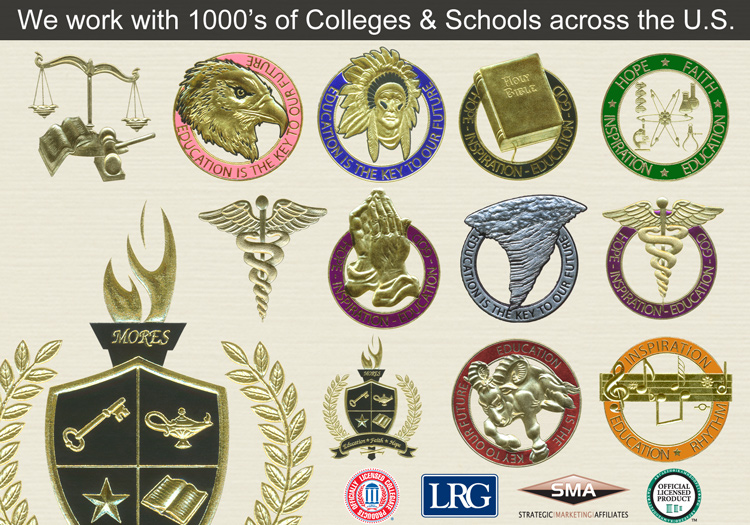 Alfred University Graduation Announcements Seals and Foil Colors